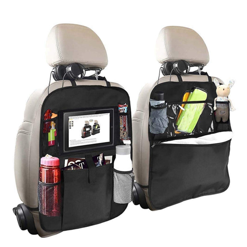 Backseat Organizer for Kids 2 Type (A+B) Kick Mats Back Seat Car Protector with Multi Pocket Storage Bag Holder for iPad Tablet Bottle Tissue Box Toys Vehicles Travel Black 2 Pack