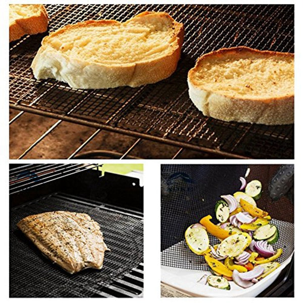 4 Pcs Non Stick BBQ Grill Mesh Reusable Teflon Grilling Net Barbecue Mat for Grilling,Cooking,Baking,Barbecue,40 x 33cm