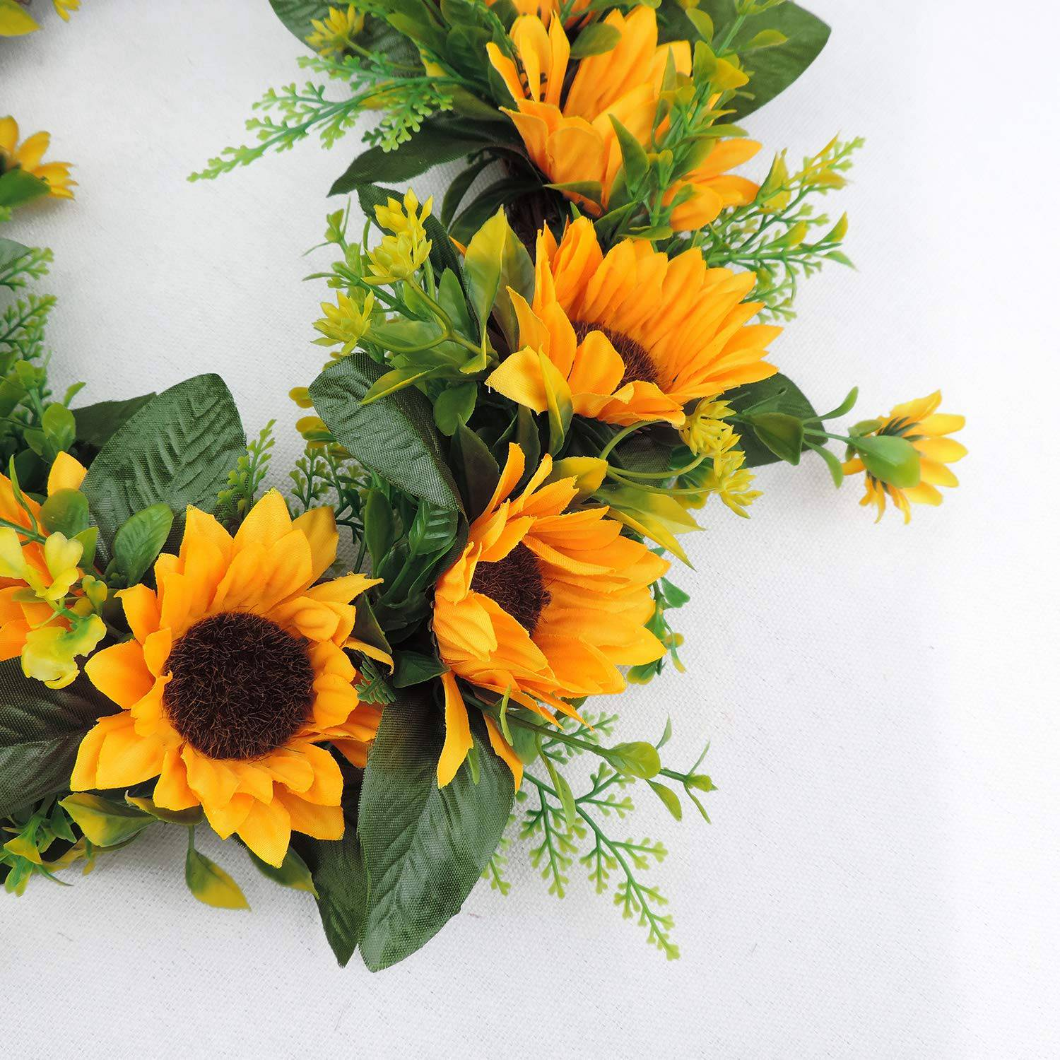 Artificial Sunflower Wreath Flower Wreath With Yellow Sunflower And Green Leaves For Front Door Indoor Or Outdoor Wall Wedding Home Decoration