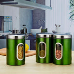 3Pcs 11X16.5Cm Stainless Steel Storage Tank High-Grade Fresh-Keeping Sealed Tea Coffee Canisters Storage Box Creatives Home Gift Green
