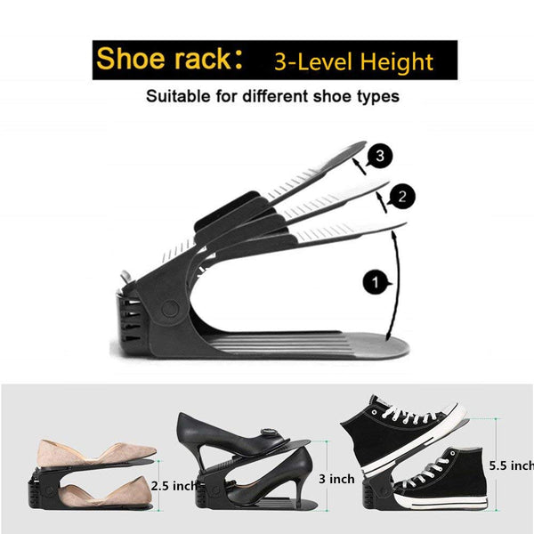 Adjustable Shoe Organizer-Shoe Slot Space Saver Rack Holder (12 Pcs-Black)