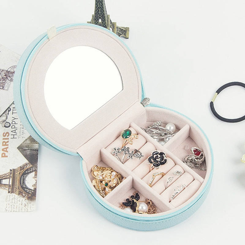 Jewelry Box Mini Stud Earrings Rings Useful Makeup Organizer With Zipper Portable Storage Display Travel Case