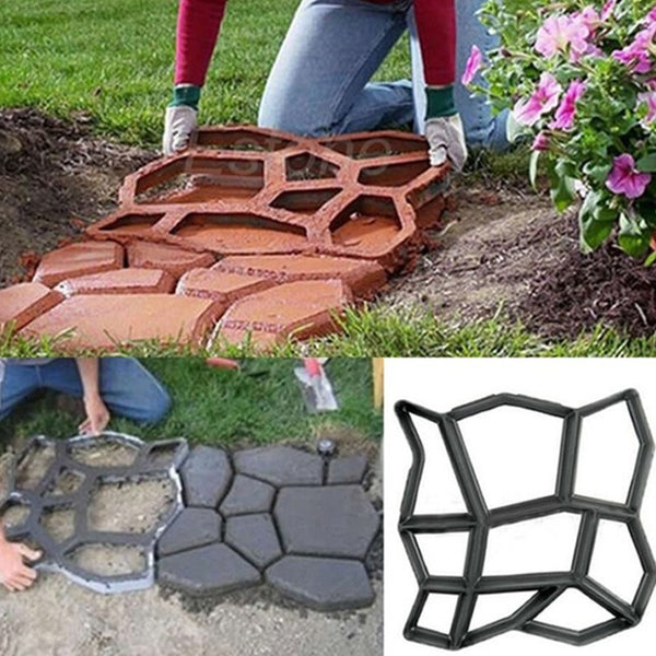 Garden Pavement Mold Garden Walk Pavement Concrete Mould DIY Manually Paving Cement Brick Stone Road Concrete Molds Pathmate Moulds