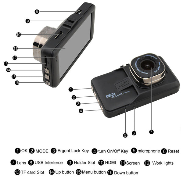 Car Dvr Camera Full HD 1080p Video Recorder 3.0 Inch Dashcam FH06 Registrator G-Sensor Dash Cam