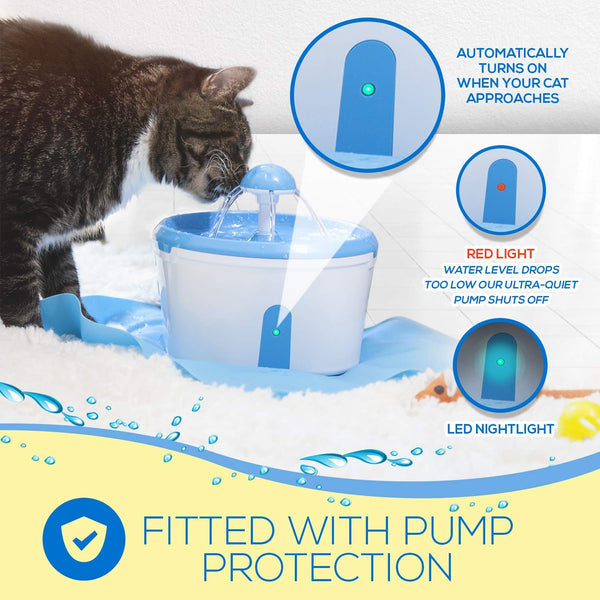 Cat Water Fountain - Pet Water Dispenser With Charcoal Activated Filter Purifier - Automatic Sensor Drinking With Anti-Spill Broad Base - Quiet Pump With Low Water Led - 2.2L Us Plus