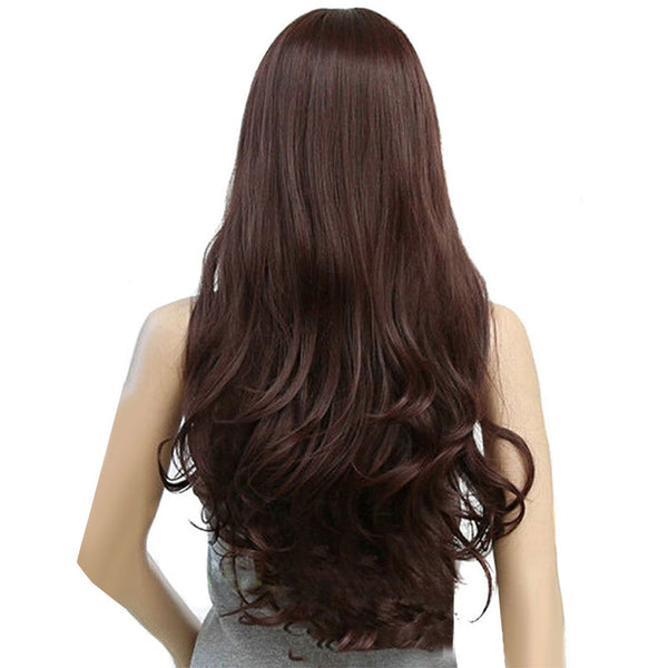 Map Of Beauty Long Loose Wave Wigs For Women Heat Resistant Black Light Dark Synthetic Hair Cosplay Fake Hairpiece