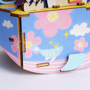 Robotime Diy Cartoon Oceam Park Wooden Movable Music Box Clockwork Type Home Decor Beauty Gifts For Children Friends Amd51