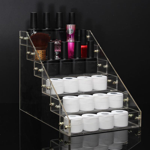 Removable Organizer Storage 6 Tiers Rack Acrylic Clear Nail Polish Cosmetic Varnish Display Stand Holder Manicure Tool