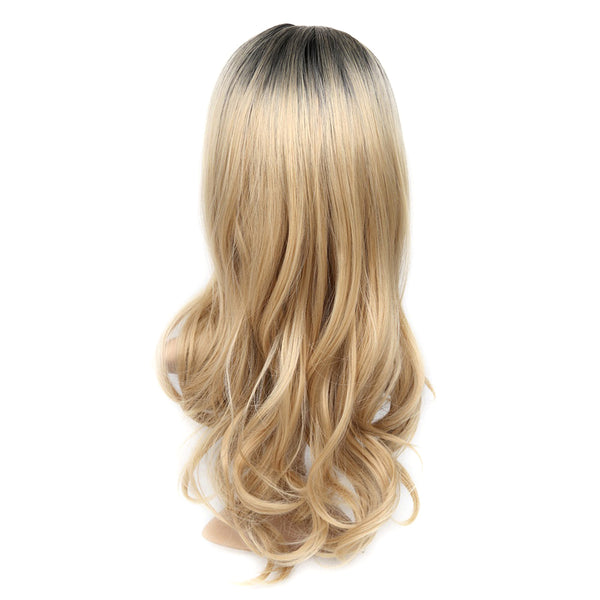 Long Ombre Brown Blonde High Density Heat Resistant Synthetic Wig For Hanne Women Glueless Wavy Cosplay Hair Wig