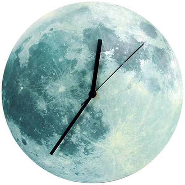 Timelike Glowing Moon Wall Clock Waterproof P Acrylic Luminous Hanging Clock Moon Clock Livingroom Bedroom Decor 30Cm