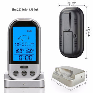 Bbq Thermometer,Digital Grill Thermometer Remote Oven Wireless Food Temperature For Meat Chicken Turkey Steak Pork Bbq