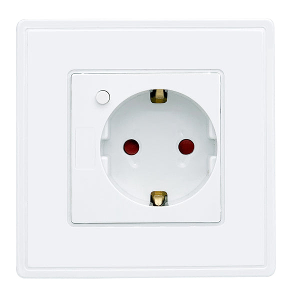 Eu Standard Power Plug Socket , White Plastic Pc Panel, Ac 90~250V 10A Wall Outlet Kitchen Socket