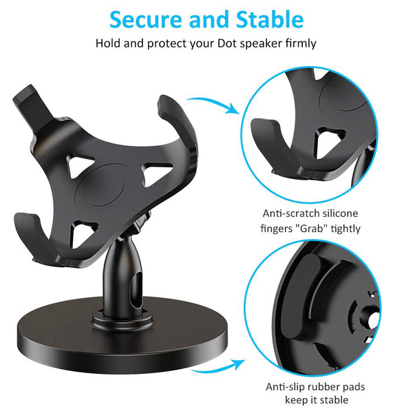 Table Holder For Echo Dot 3Rd Generation, 360¡ã Adjustable Stand Bracket Mount For Smart Home Speaker, Improve Sound Visibility And Appearance, Dot Accessories (Black)