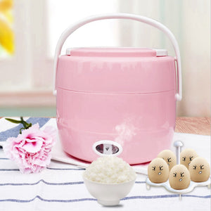 Multifunctional 2L Double-Layer Rice Cooker Electric Cooking Lunch Box Insulation Heating Container Portable Lunch Box-EU Plug