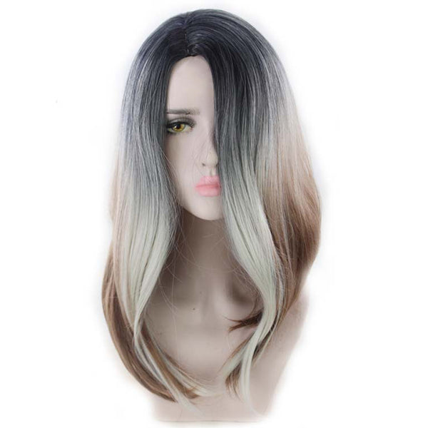 Women'S Long Double Color Curly Hair Synthetic Wig Natural Warm Cosplay Hair Chemical Fiber