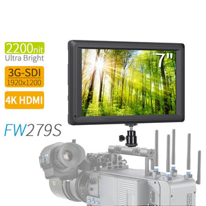 Fw279S 7 Inch 4K Hdmi 3G-Sdi 2200Nit Daylight Viewable 1920X1200 On-Camera Field Monitor With Histogram, Focus Assist, Zebra Exposure, False Color, Pixel To Pixel For Dslr Camera