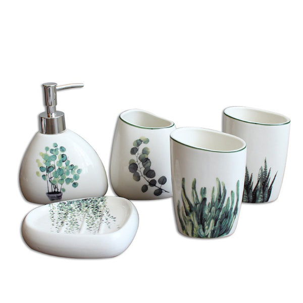 Nordic Green Plant Ceramic Bathroom Products Simple Five-Piece Wedding Bath Set Bathroom Ceramic Set
