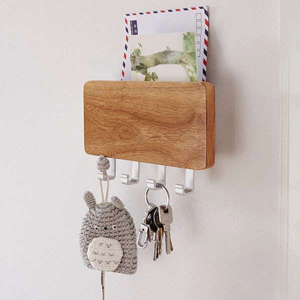 Key Holder, Decorative Wooden Key Chain Rack Hanger Wall Mounted With 4 Hooks, Multiple Mail And Key Holder Organizer For Door, Entryway, Hallway, Kitchen