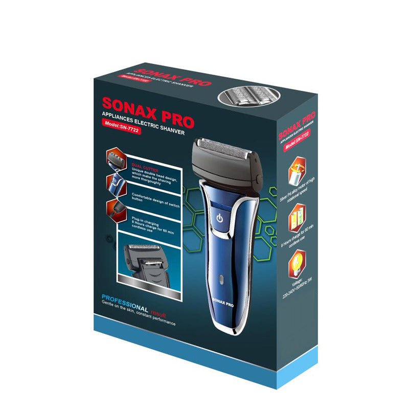 Sonax Pro Portable Shaver For Men Electric Shaver Rechargeable Cordless Shaver For Men Twin Blade Reciprocating Beard Razor Shaving Machine Eu Plug