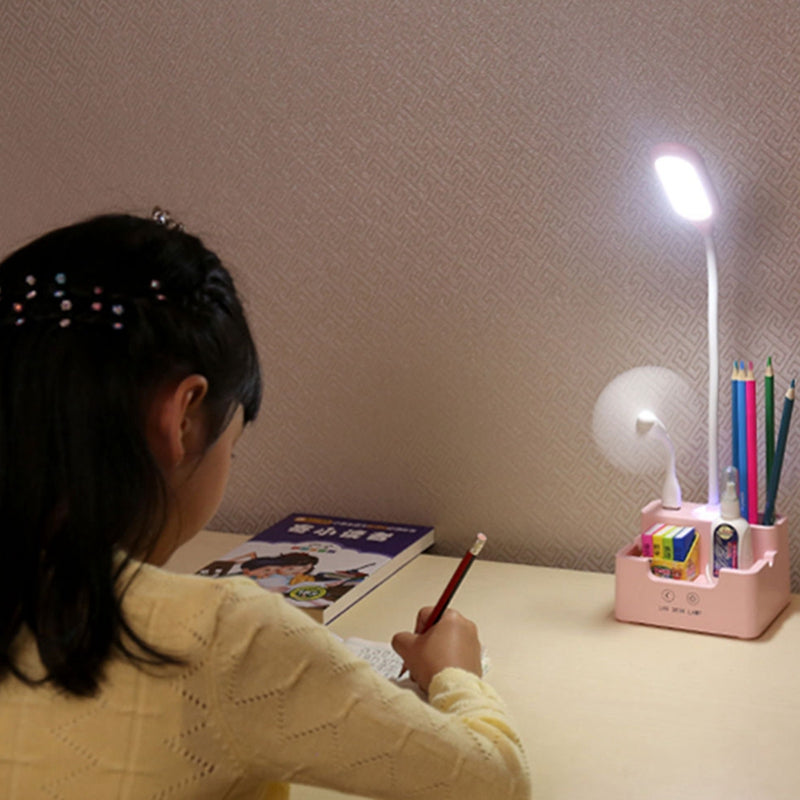 Home Office Multi-Functional Led Night Light White Rechargeable Emergency Phone Charger Pen Holder Kids Reading Desk Lamp With Pen Storage Bracket