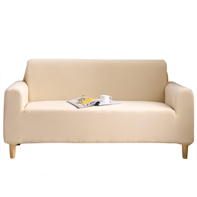 Beige Color Tight Wrap Sofa Cover Elastic Sofa Cover All-Inclusive Three Seats Sofa Cover Furniture Cover Living Room Protective Sofa