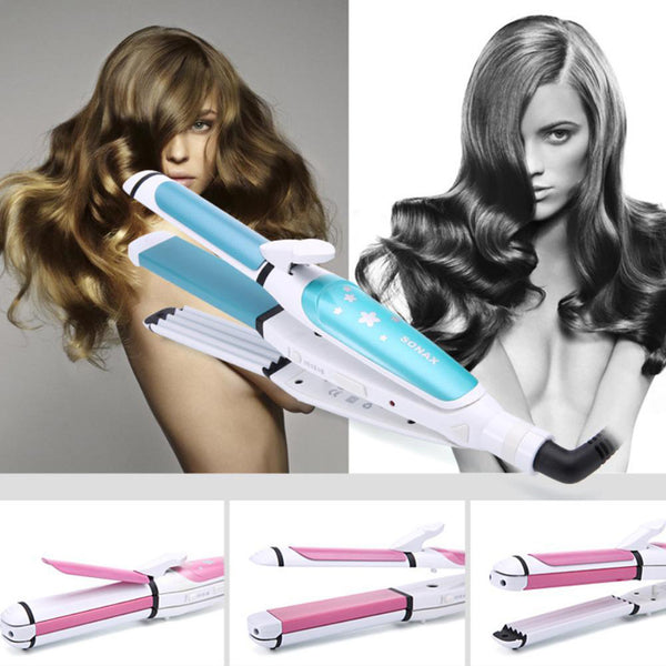 Sonax Pro Corn Hot Wave Straight Hair Multi-Function Hair Curler Corrugated Plate Electric Curling Iron Curl Modelling Tools Blue Eu Plug