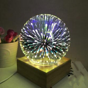 Wood Colorful 3D Light Magic Projector Ball 3D Lamp Usb Power Supply Bedroom Bedside Night Light Party Star Atmosphere Night Light Sky Table Lamp