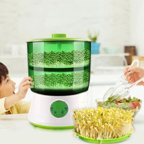 Digital Home Diy Bean Sprouts Maker 2 Layer Automatic Electric Germinator Seed Vegetable Seedling Growth Bucket Bean Sprout Machine Eu Plug
