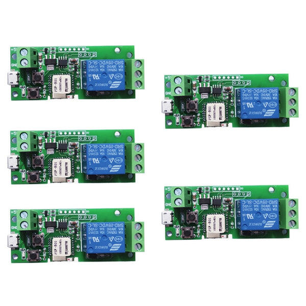 5Pcs Wifi Switch Module Inching Self Locking Wireless Relay Smart Home Automation For Computer Access Dc5V 1 Channel