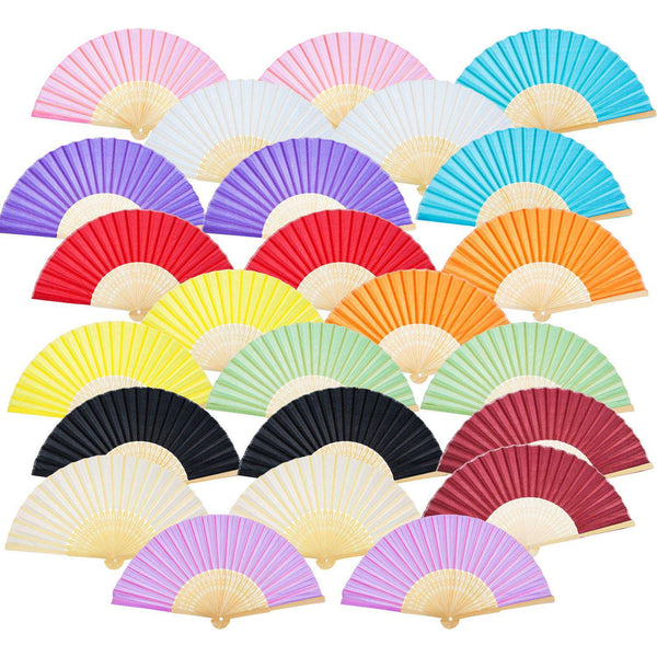 Handheld Fan Silk Bamboo Folding Fan Handheld Folding Fan For Church Wedding Gift Party Diy Decoration 24Pcs