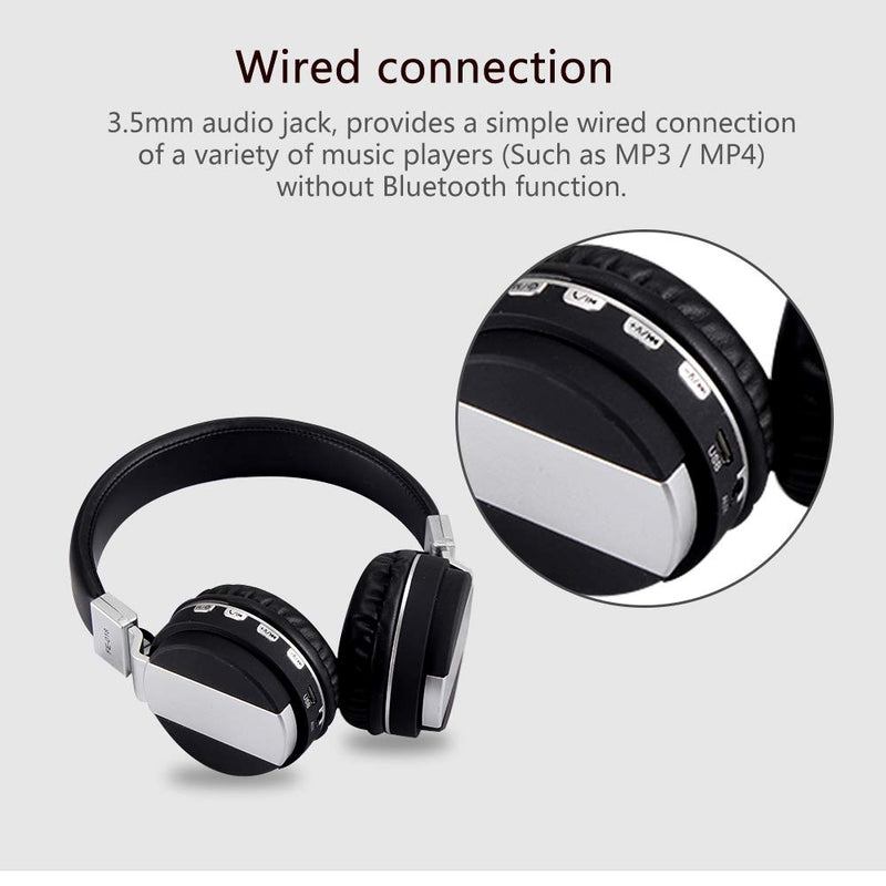 Fe-018 Foldable Wireless Bluetooth Headphones Wired Headset Headband Earphone With Mic Support Fm Radio Micro-Sd Tf Card For Android Ios Mobile Pc Computer Tablet