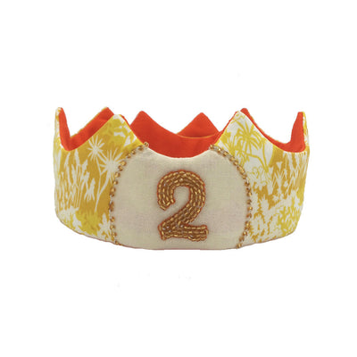 "Hand-beaded Liberty ""2"" Crown - Yellow w/ Orange - Toddler Size"