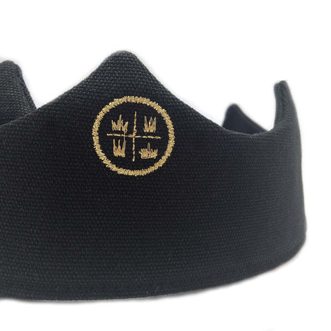 Birthday crown, black crown, party crown, embroidered crown