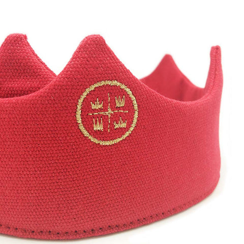 Birthday crown, red crown, party crown, embroidered crown