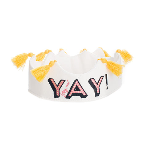 YAY Tassel Crown - White w/ Black/Coral