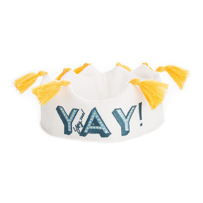 YAY Tassel Crown - White w/ Green/Blue