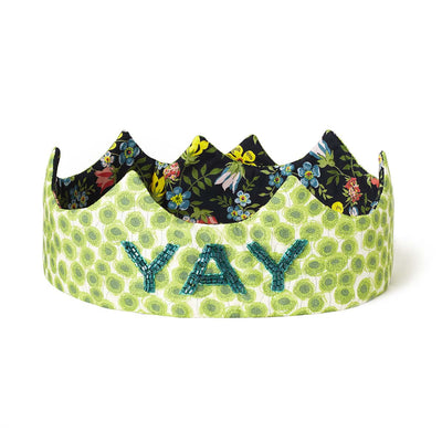 YAY Crown - Hand-beaded on Liberty cotton - Green/Black