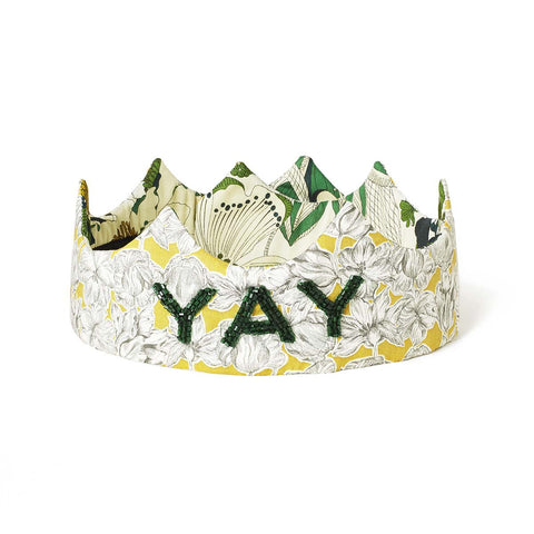 YAY Crown - Hand-beaded on Liberty cotton - Yellow/Green