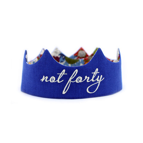 Not Forty Birthday Crown - Royal Blue