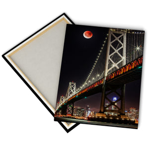 """Blood Moon Over Bay Bridge"" - Gallery Wrapped Canvas by Bobby Lee"