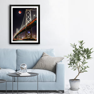 """Blood Moon Over Bay Bridge"" - Photographic Print by Bobby Lee"