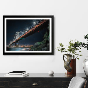 """San Francisco Bay Bridge By Night"" - Photographic Print by Bobby Lee"