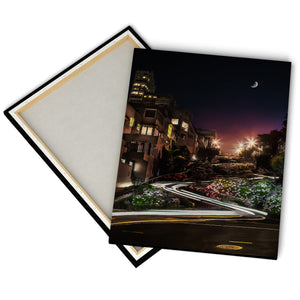 """Lombard Street By Night"" - Gallery Wrapped Canvas by Bobby Lee"