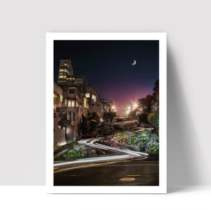 """Lombard Street By Night"" - Photographic Print by Bobby Lee"