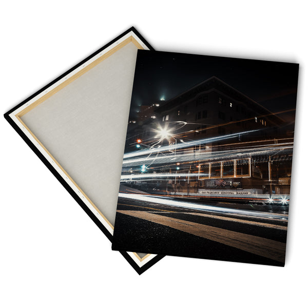 """Cable Car By Night"" - Gallery Wrapped Canvas by Bobby Lee"