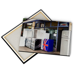 """Union Jack Fridge"" - Gallery Wrapped Canvas by Peter Dench"