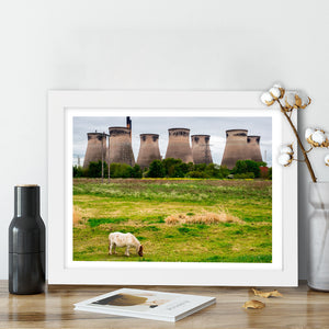 """Horse Grazing By Cooling Towers"" - Photographic Print by Peter Dench"