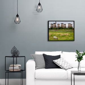 """Horse Grazing By Cooling Towers"" - Gallery Wrapped Canvas by Peter Dench"
