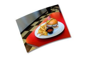 """Burger and Fries"" - 6x8"" Print by Peter Dench"