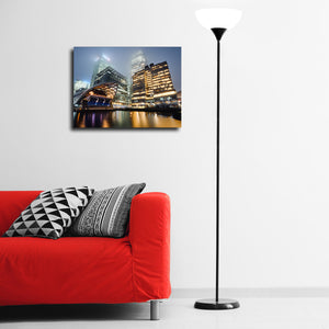 """Foggy Canary Wharf"" - Gallery Wrapped Canvas by Ron Timehin"